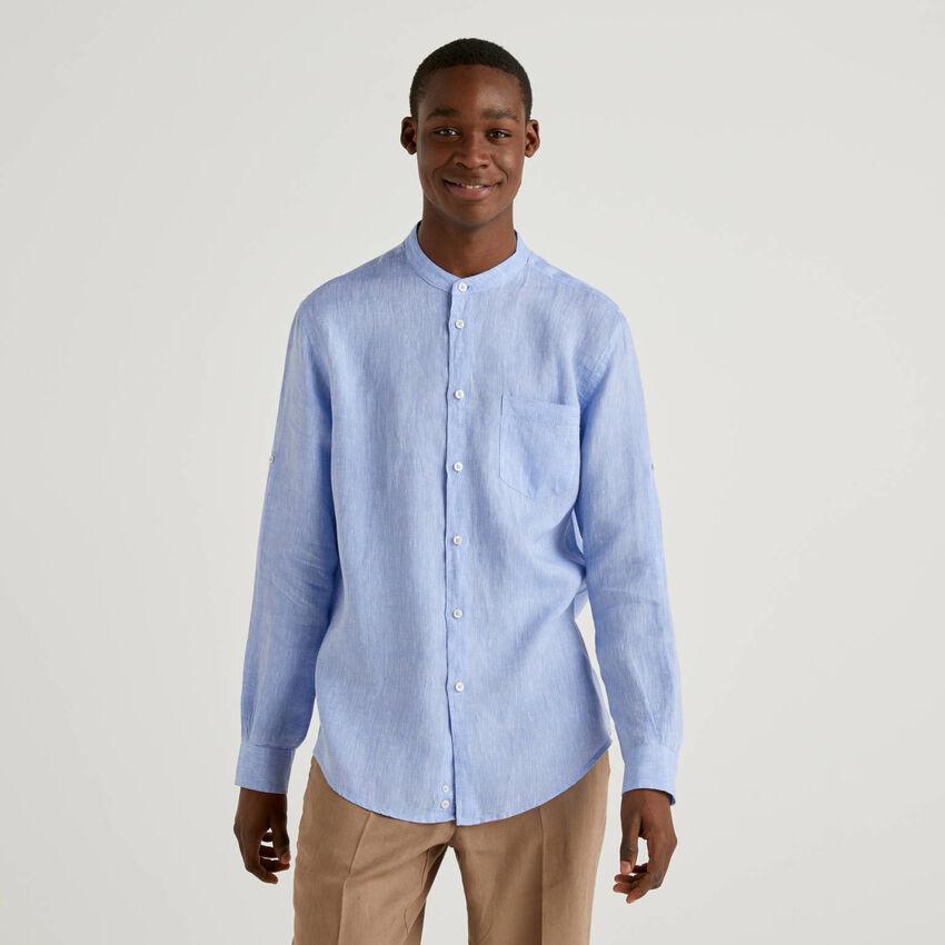 Camisa de lino con cuello mao