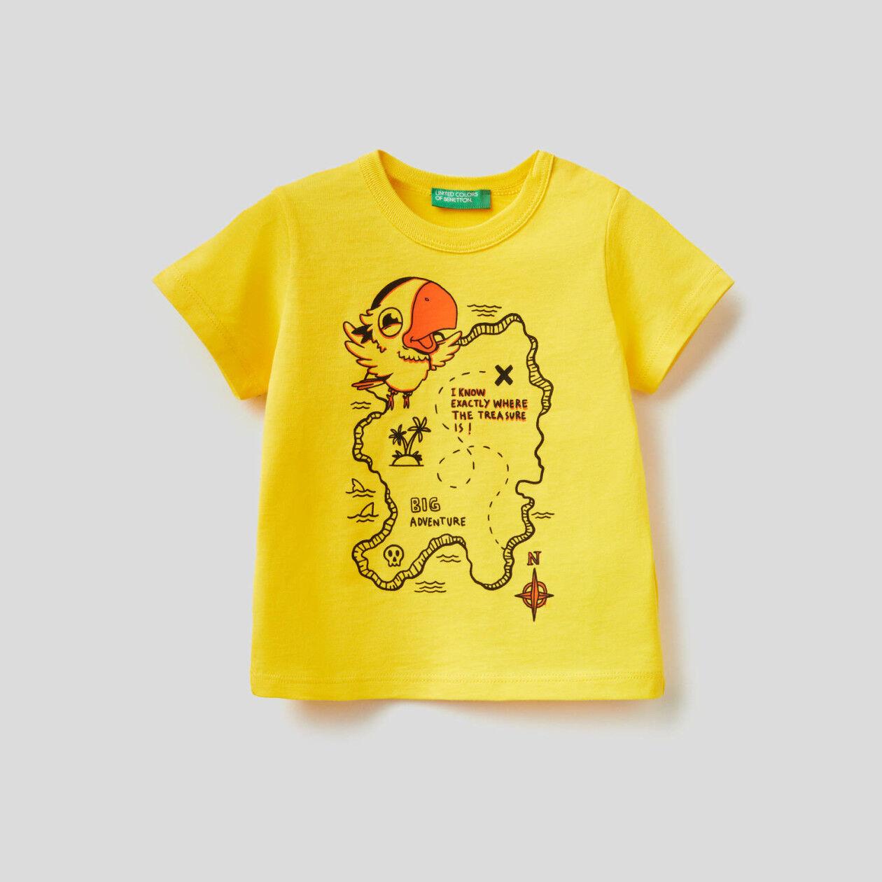 Camiseta de 100% algodón con maxiestampado