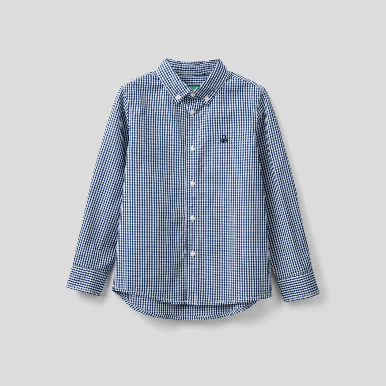 Camisa deportiva de vichy de algodón puro