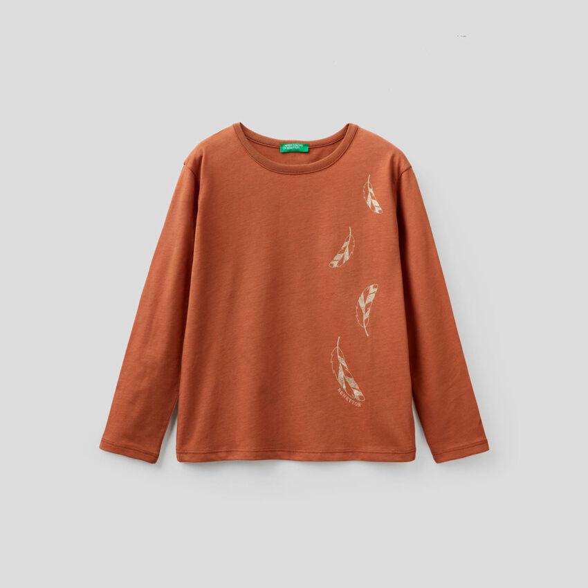 Camiseta de manga larga con estampado de glitter