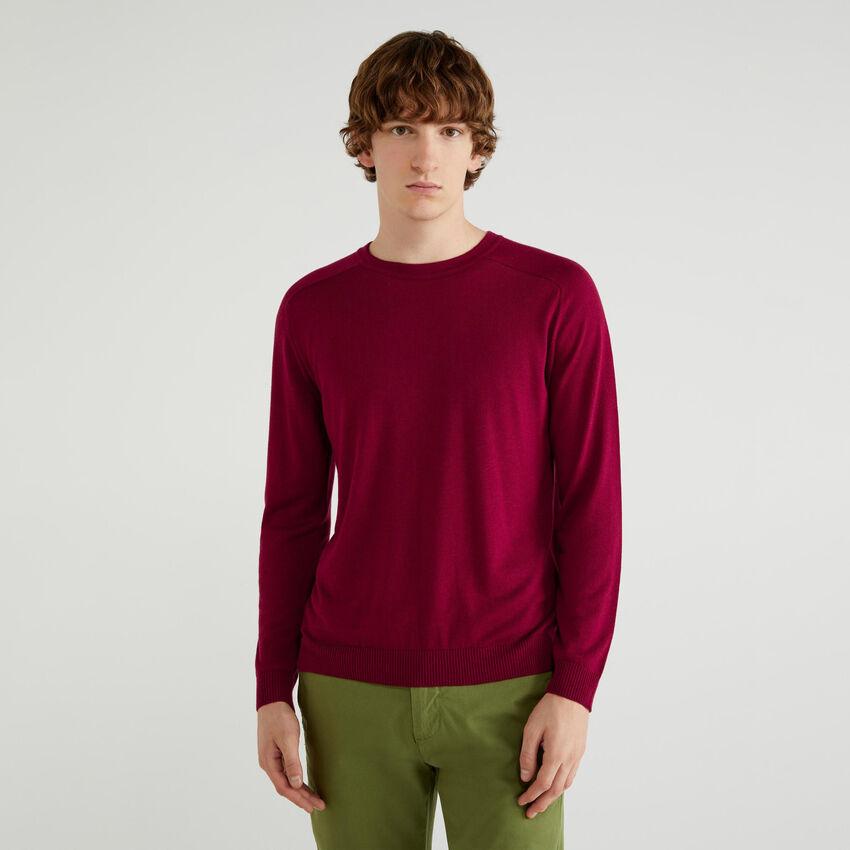 Jersey de cuello redondo de viscosa y lana