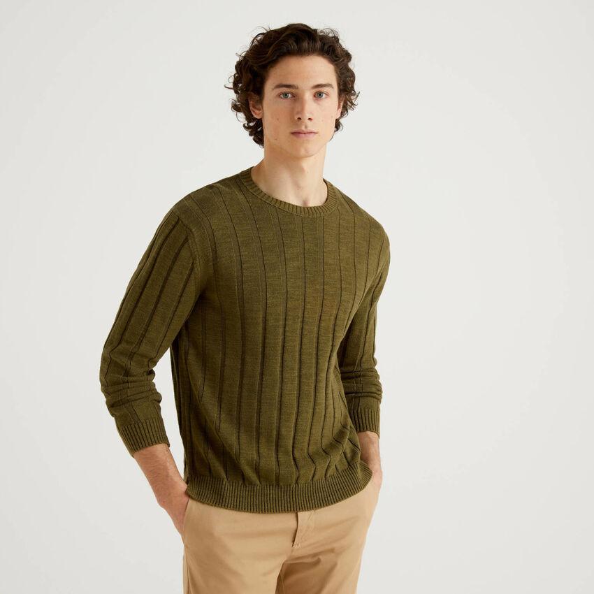 Jersey acanalado de algodón y lino mixto
