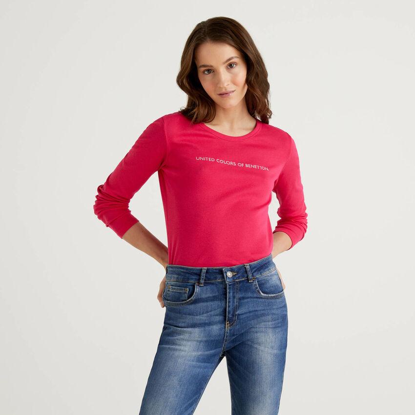 Camiseta de manga larga de 100% algodón color ciclamen