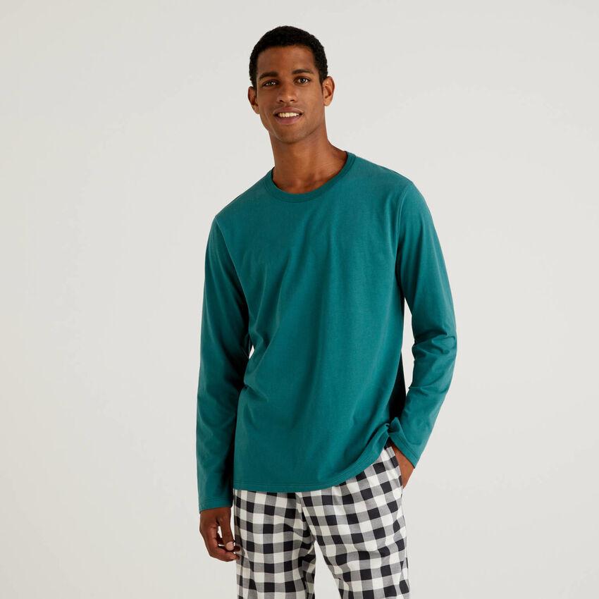 Camiseta de algodón cálido de fibra larga