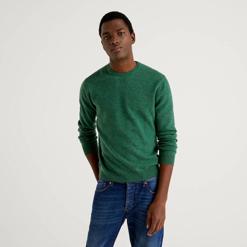 Jersey de cuello redondo verde de pura lana virgen