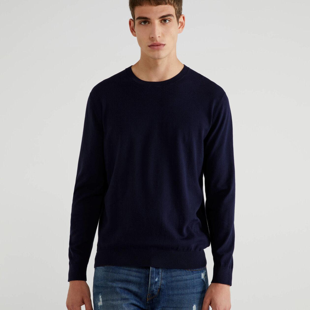 Jersey de cuello redondo de algodón tricot