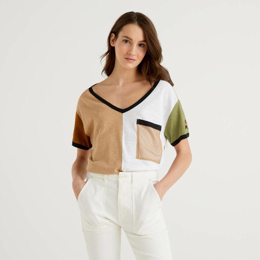 Camiseta color block en mezcla de algodón y lino