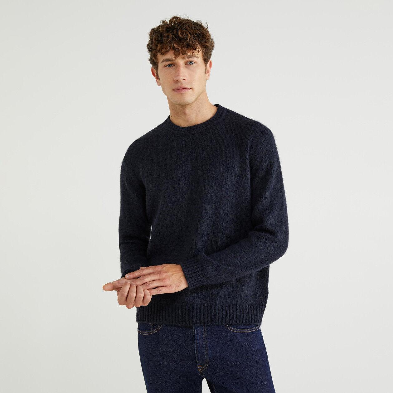 Jersey de cuello redondo de lana mixta