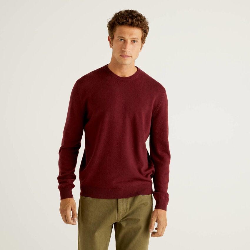 Jersey de cuello redondo burdeos de pura lana virgen