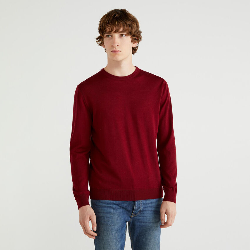 Jersey de cuello redondo de pura lana merina extrafina
