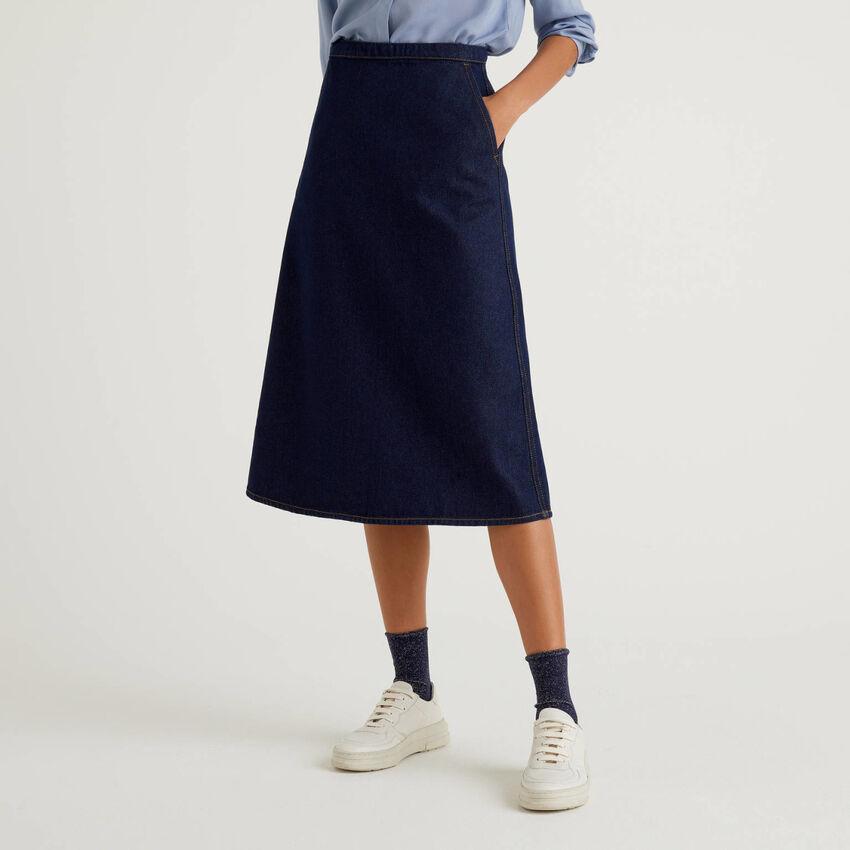 Falda midi en denim de 100 % algodón