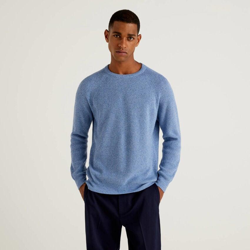 Jersey de lana mixta y seda acanalada
