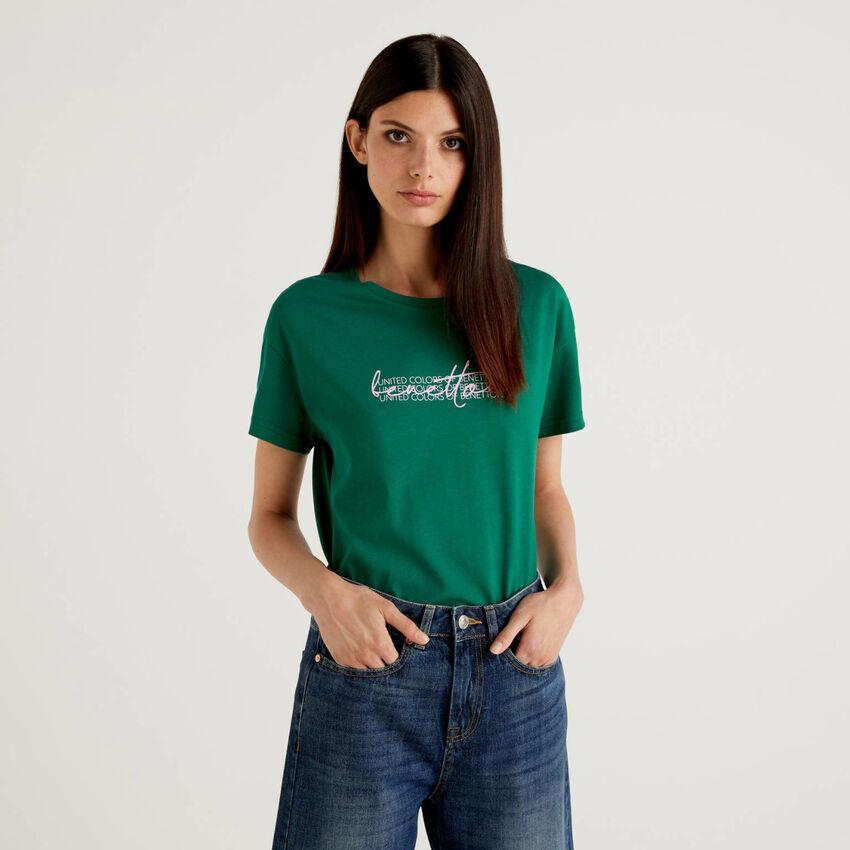 Camiseta de 100 % algodón orgánico con estampado de logotipo