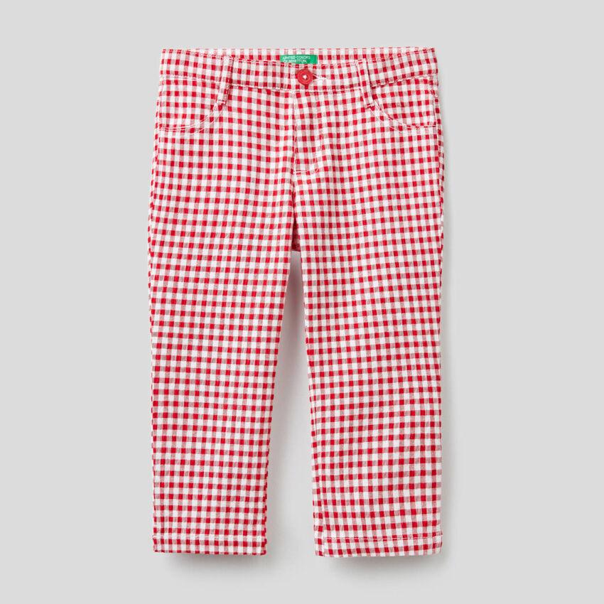 Pantalón cropped de cuadros