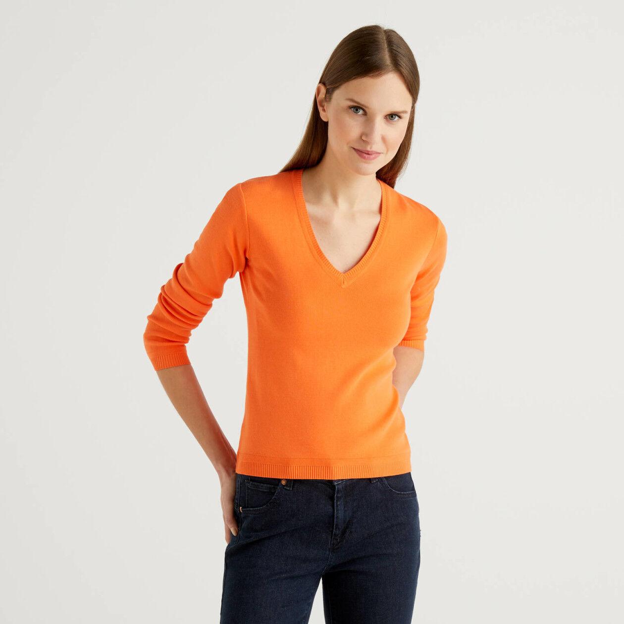 Jersey de algodón con escote de pico