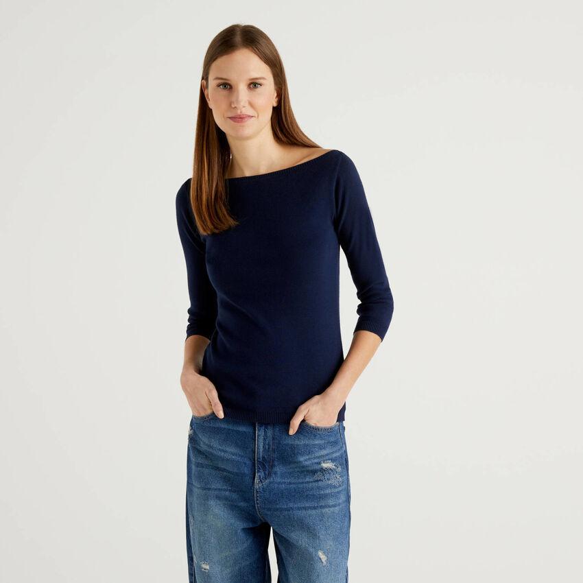 Jersey de 100 % algodón con escote barco