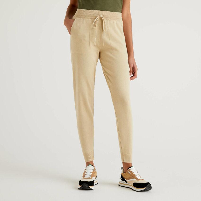Pantalón de algodón tricot con cordón de ajuste