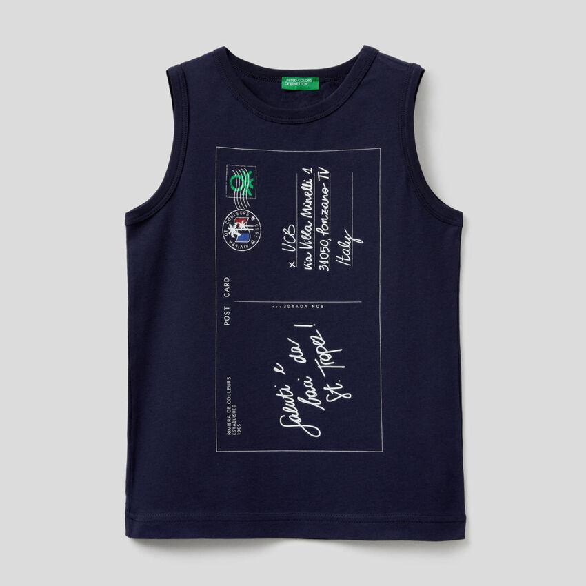Camiseta de tirantes con estampado de postal