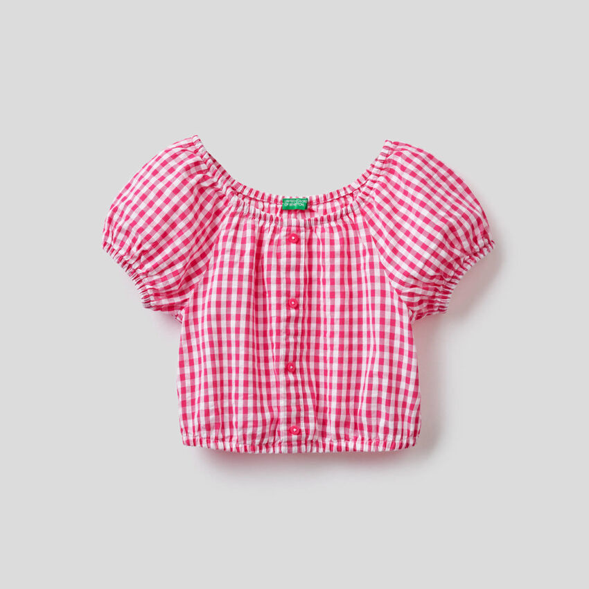 Blusa cropped con estampado de Vichy