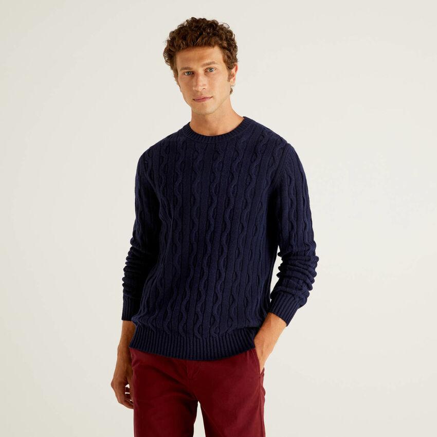 Jersey de trenzas en mezcla de lana