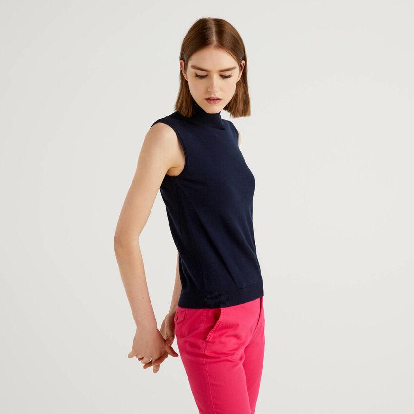 Jersey de cachemir mixto sin mangas
