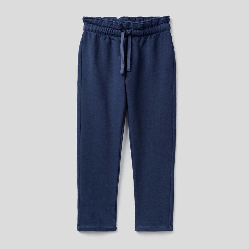 Pantalón de felpa con cintura fruncida