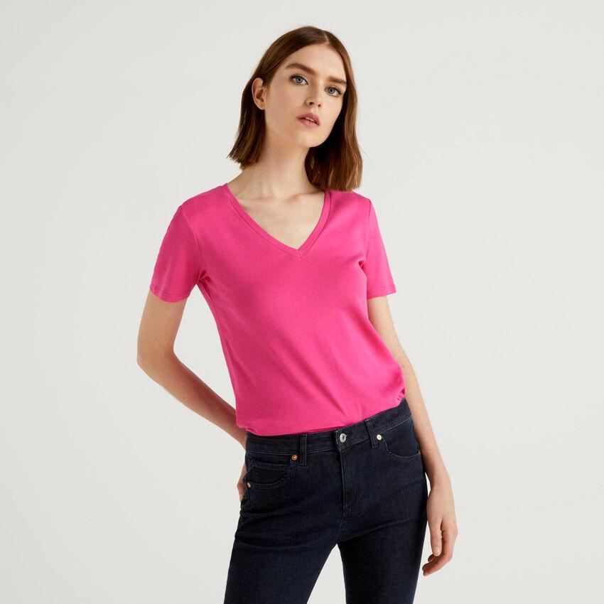 Camiseta de algodón puro con escote de pico