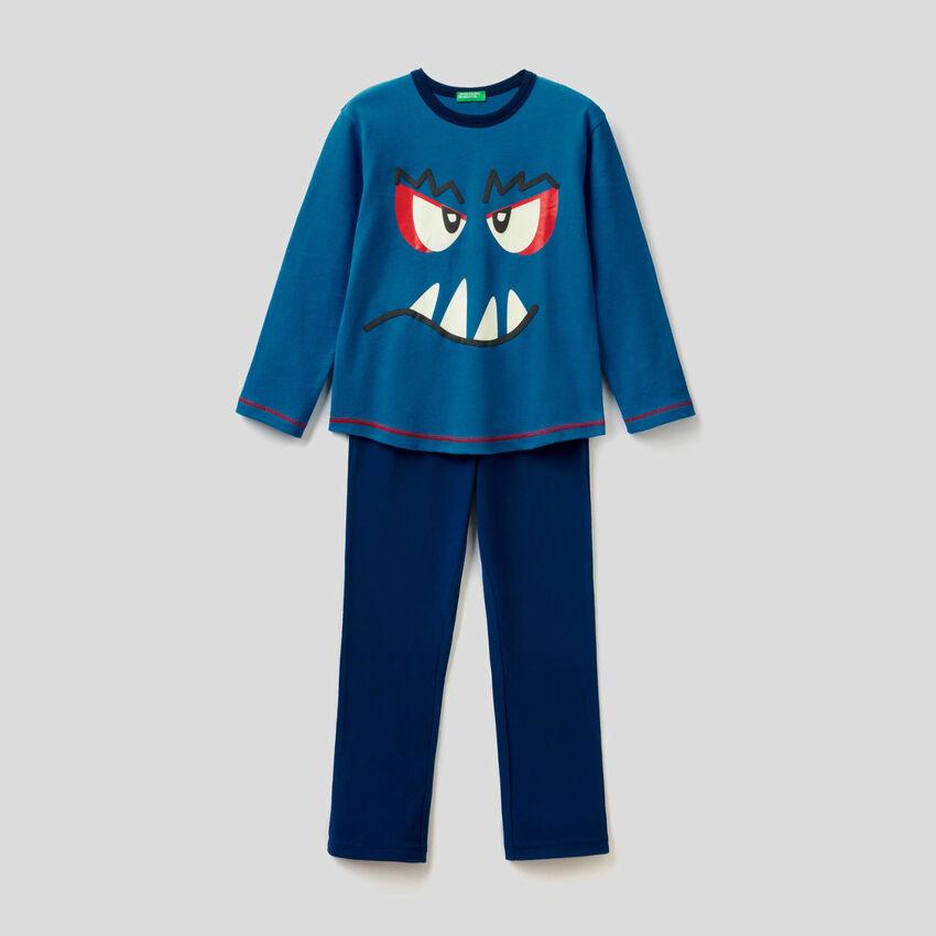 Pijama de 100 % algodón con estampado