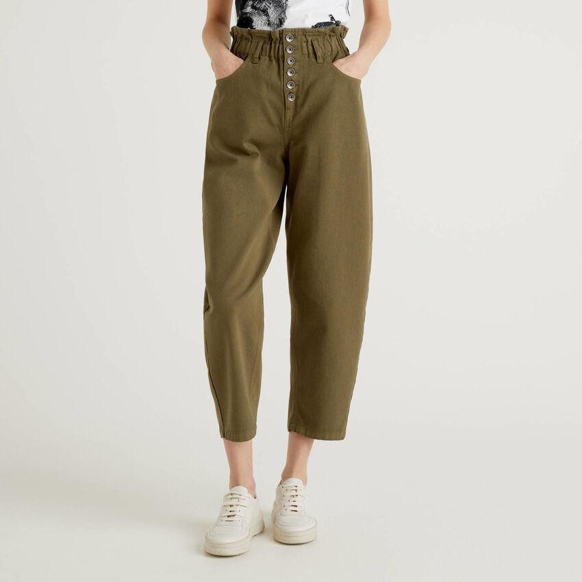 Pantalón de talle alto de 100 % algodón