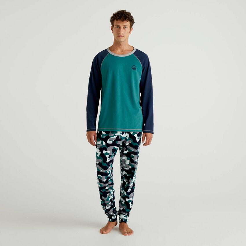 Pijama de algodón con pantalón estampado