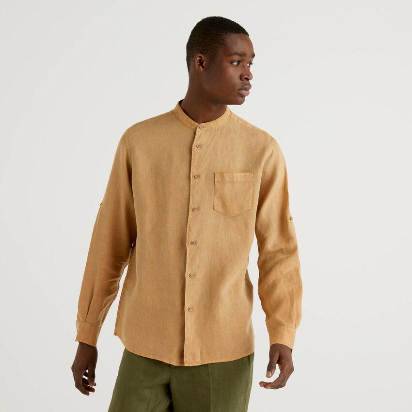 Camisa de 100% lino con cuello mao