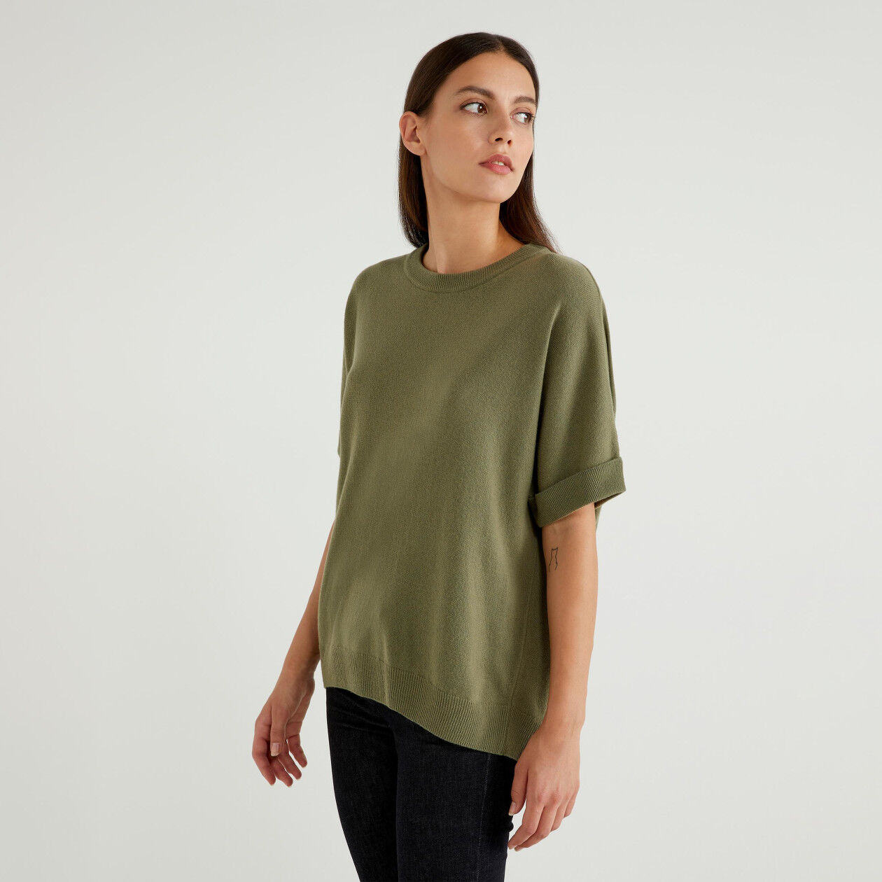 Jersey de manga corta de lana mixta