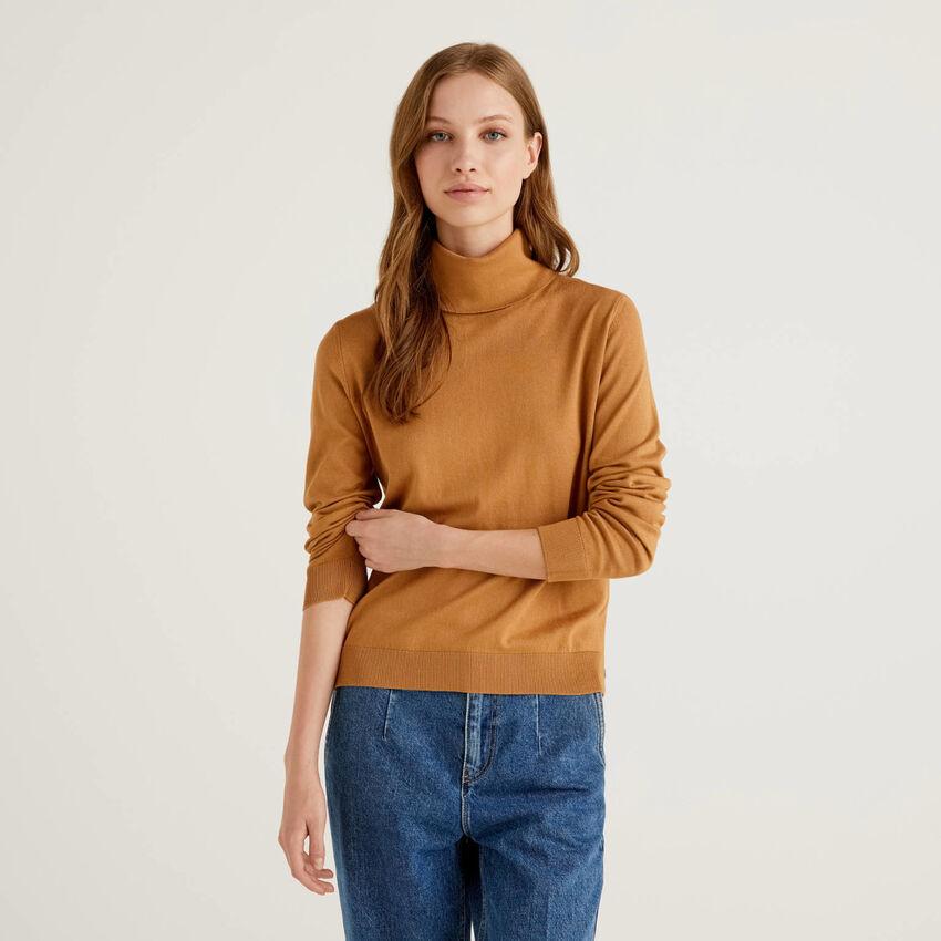 Jersey de cuello cisne de algodón y Modal®