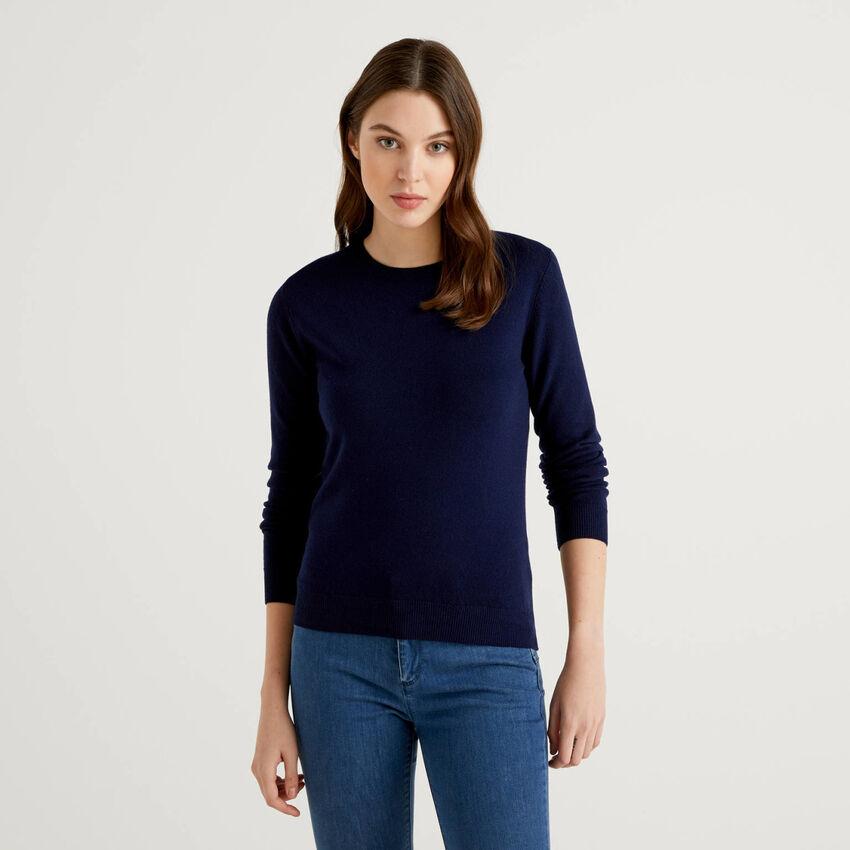 Jersey de cuello redondo azul oscuro de pura lana virgen