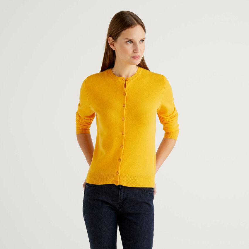 Cárdigan de cuello redondo amarillo de pura lana virgen