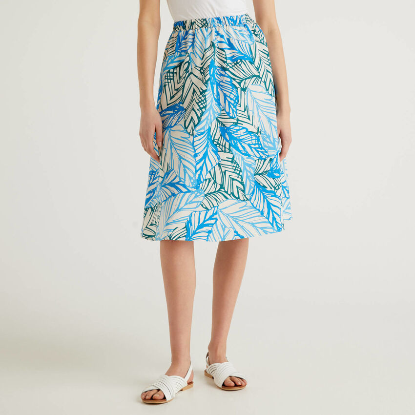 Falda midi de algodón estampado
