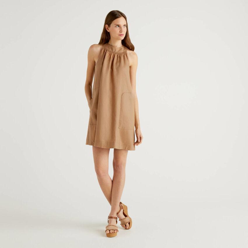 Vestido sin mangas de 100% lino