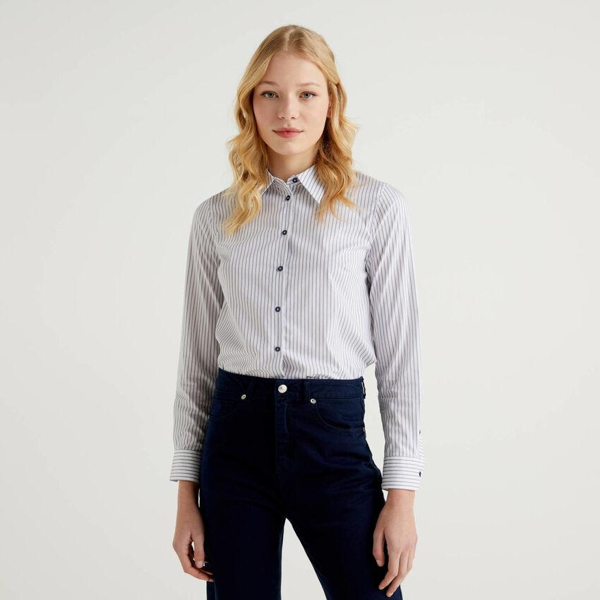 Camisa de rayas de algodón elástico mixto
