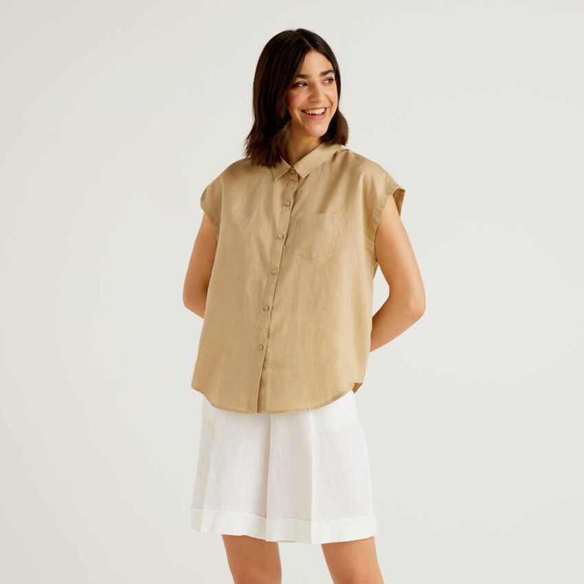 Camisón de 100% lino de manga corta