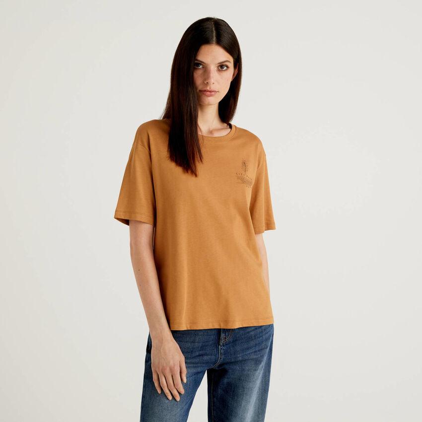 Camiseta con eslogan de 100 % algodón orgánico