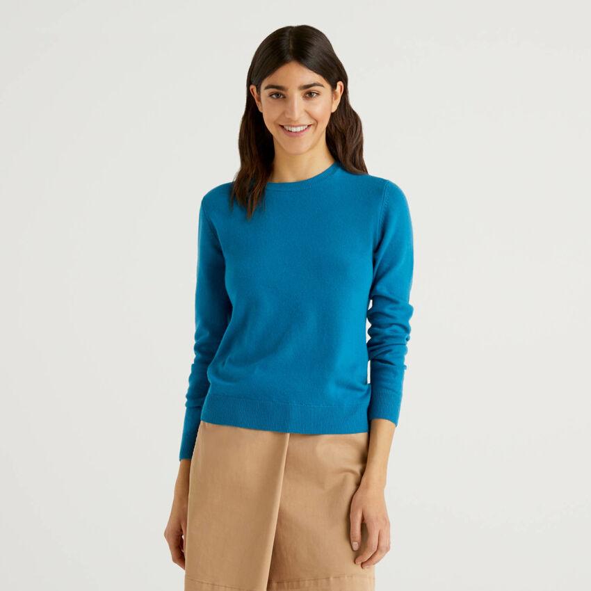 Jersey de cuello redondo color petróleo de pura lana virgen