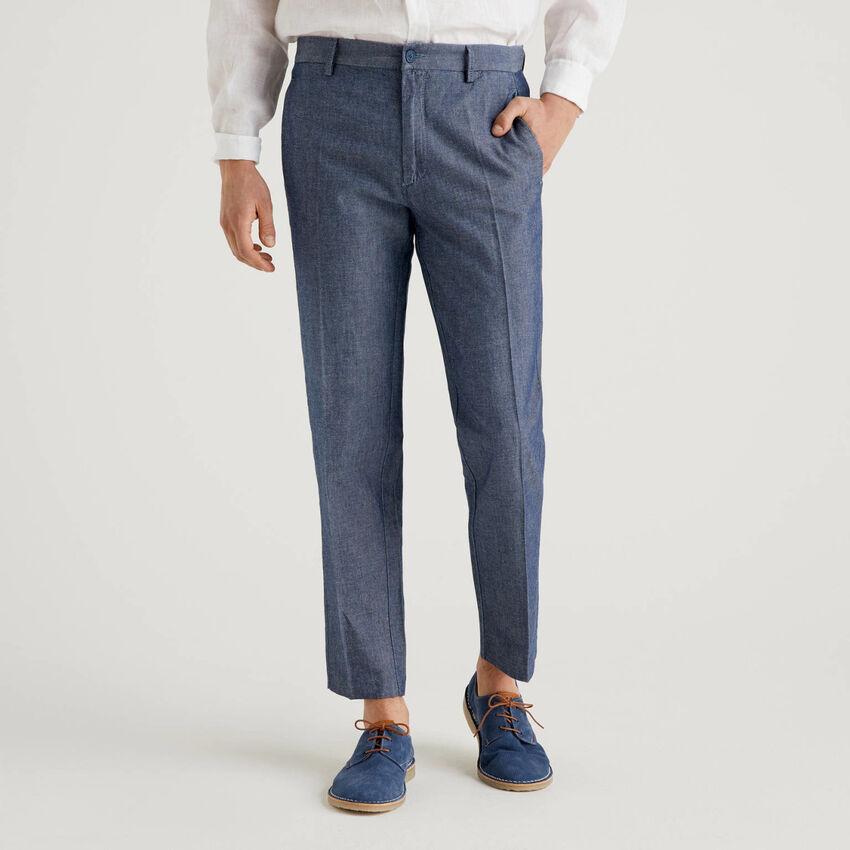 Pantalón en denim de algodón y lino mixto