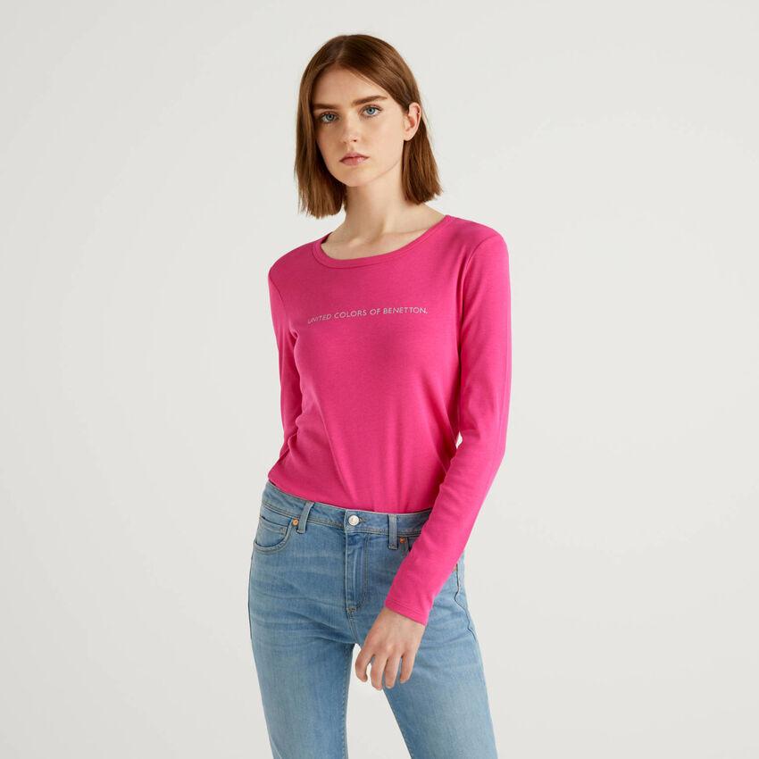 Camiseta fucsia de manga larga de 100 % algodón