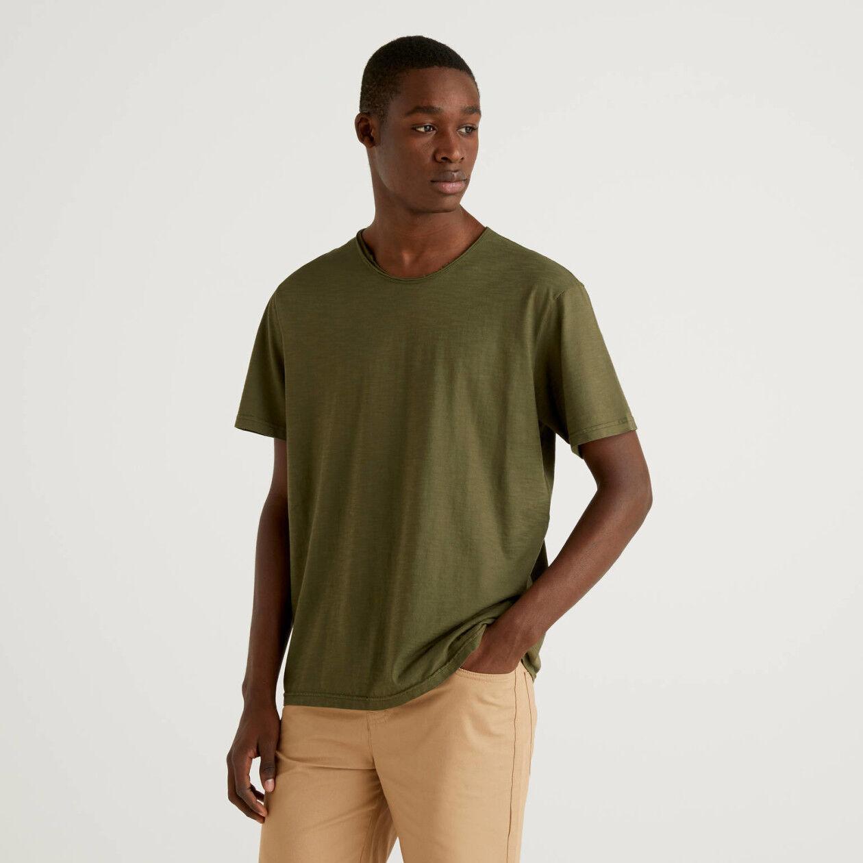 Camiseta verde militar de 100% algodón