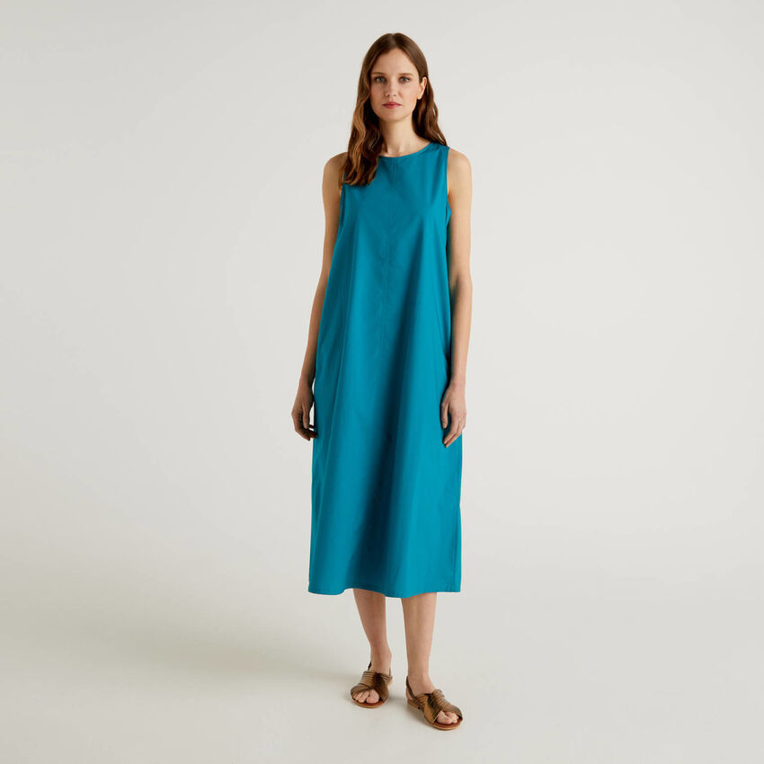 Vestido largo sin mangas de 100% algodón