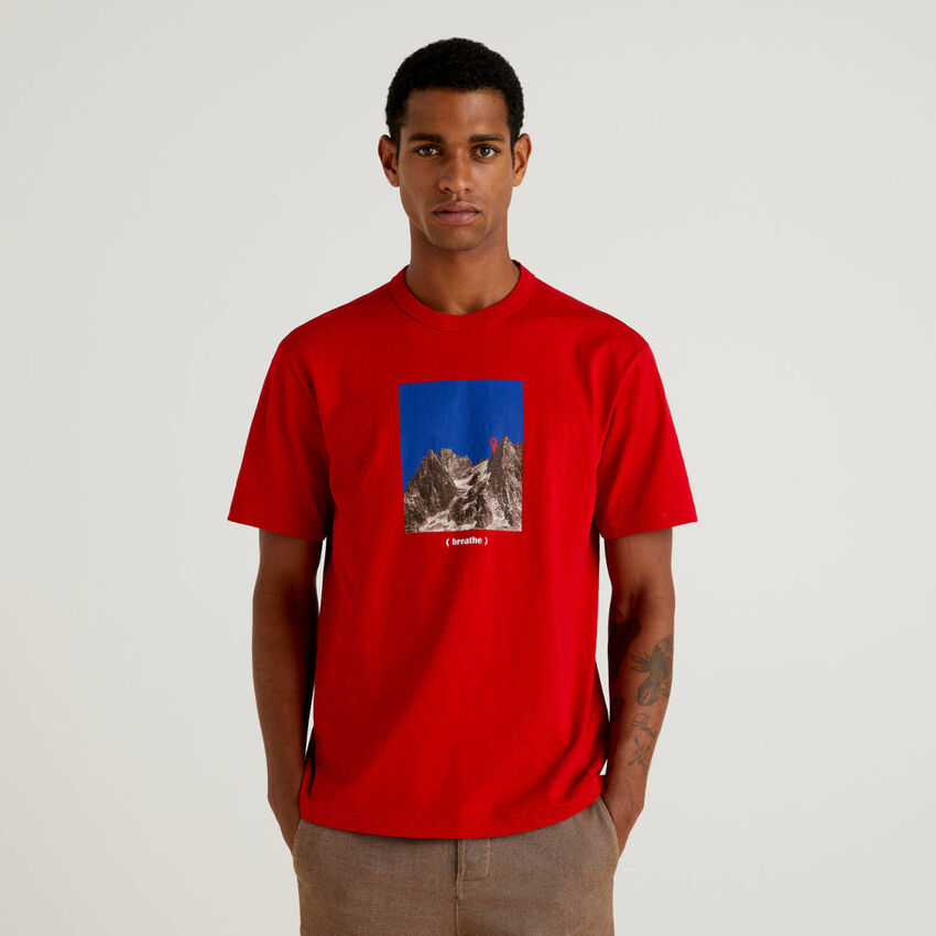 Camiseta de 100 % algodón orgánico con estampado