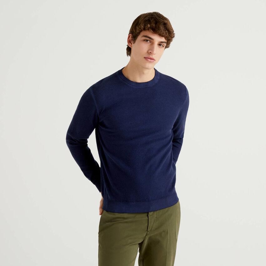 Jersey de cuello redondo con detalle en V