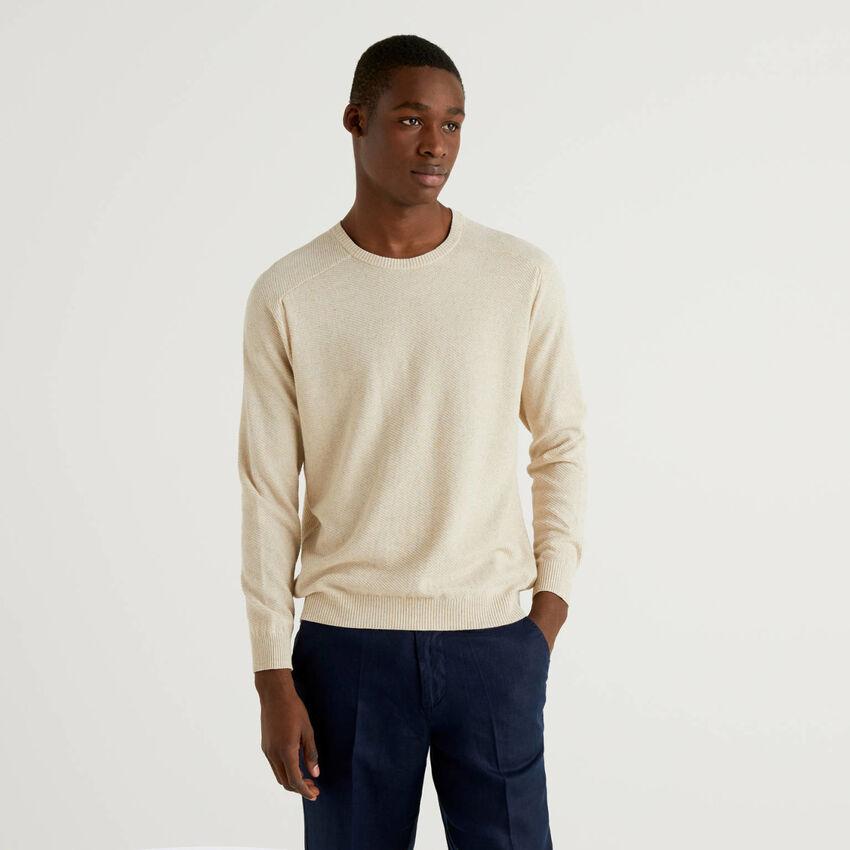 Jersey en mezcla de algodón y lino