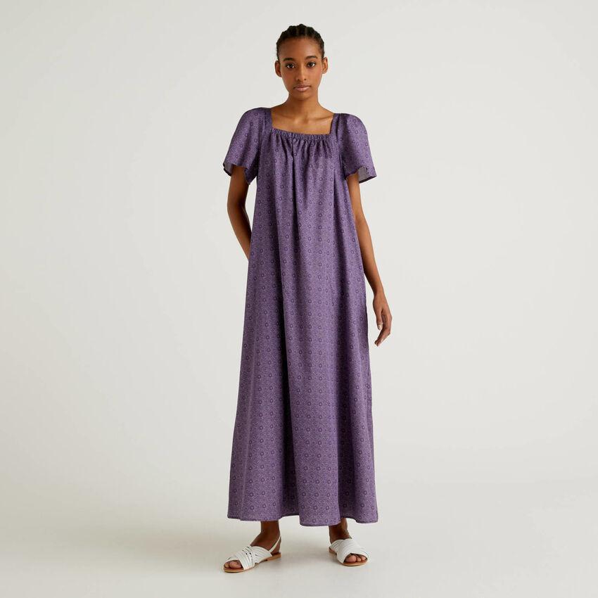 Vestido largo de algodón estampado