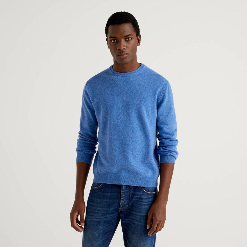 Jersey de cuello redondo azul de pura lana virgen